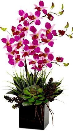Orchid Flower Arrangements, Orchid Planters, Orchid Centerpieces, Orchids Garden, Artificial Flower Arrangements, Beautiful Flower Arrangements, Flower Shop Decor, Artificial Orchids, Purple Orchids