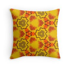 """Texture yellow ""Abstract geometry"" "" Throw Pillows by floraaplus 