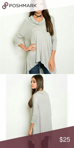 Gray  Cowl Neck Tunic Top 3/4 sleeve cowl neck jersey tunic top. The fabric content is 95% rayon/ 5% spandex. They come from a pet free/smoke free home. I have them in sizes s, m, l. Check out my closet for other colors/styles+ more added soon. Tops Tunics