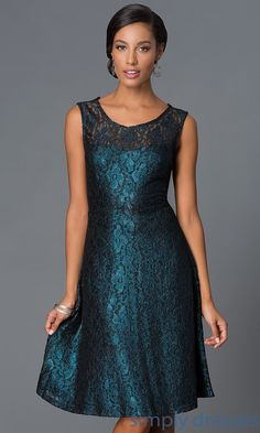 Shop shimmery lace knee length dresses with sleeveless bodices at SimplyDresses. Short V-back scoop neck cocktail dresses for parties.