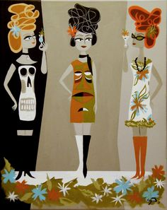 El Gato Gomes retro mod fashion illustration ~ Mid Century Modern Art