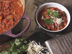 Two Meat Chili with Scallion Cornbread recipe from Nancy Fuller via Food Network  I love making chili and I am all for trying it a new way to make it.