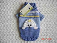 Appliqued Dog Sweater Trimmed with Peek a Boo Puppy by dogoncozy