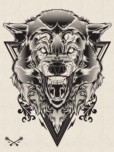 Halftone Print Series - Wolf & Lion on Behance
