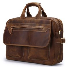 MEN'S GENUINE LEATHER BRIEFCASE SHOULDER MESSENGER BAG LAPTOP BAG A03