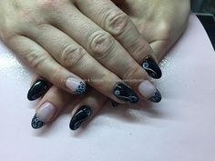 Acrylic nails with black gel polish white nail art