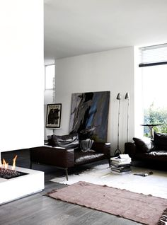 large art + leather couches, rugs