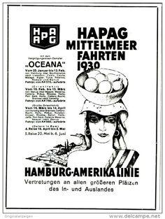 Original-Werbung/ Anzeige 1929 - HAPAG MITTELMEERFAHRTEN 1930  - ca. 100 x 130 mm