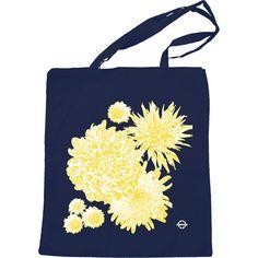 Chrysanthemum Tote Bag in Navy  by FreeTheory on Etsy