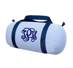 Navy Seersucker Duffle Bag Monogrammed | The Preppy Pair