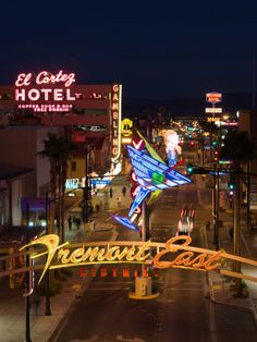 Neon Casino Signs Lit Up at Dusk, El Cortez, Fremont Street, the Strip, Las Vegas, Nevada,