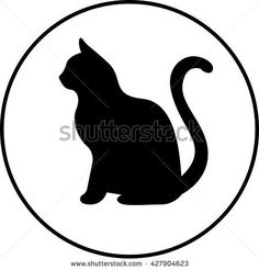 Black silhouette of cat.