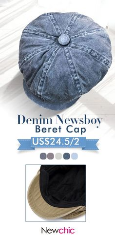 90892680 Men Denim Cotton Washed Newsboy Hat Windproof Wild Outdoor Casual Travel  Octagonal Cap Beret Cap Basketball
