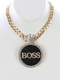 For the boss lady in you...This rhinestone necklace is clustered with black and white rhinestones and finished with a gold tone chain necklace. Gorgeous! | Shop this product here: spreesy.com/NikkizNecessitiez/1 | Shop all of our products at http://spreesy.com/NikkizNecessitiez    | Pinterest selling powered by Spreesy.com