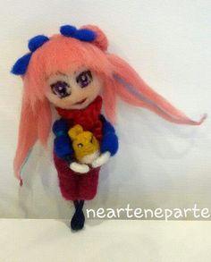 art doll in feltro ad ago stile kawaii e anime by NearteNeparte