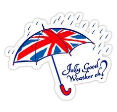 "Union jack weather umbrella t-shirt"" Stickers by Sarah Trett . Hawaii Travel, Thailand Travel, Italy Travel, Bangkok Thailand, Teapot Tattoo, Weather Umbrella, British Tattoo, Umbrella Tattoo, Ireland Tattoo"