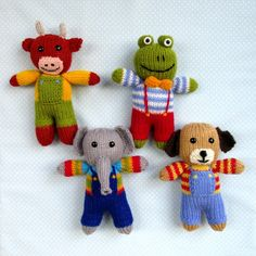 Cow, elephant, frog, dog - 4 toy animal dolls Knitting pattern by Toyshelf Candy Cousins are the sweetest little knitted animals who are named after tasty sweet treats; Fruit Drop the elephant, J. Arm Knitting, Double Knitting, Pet Toys, Doll Toys, Christmas Knitting Patterns, Knitted Animals, Bunny Toys, Paintbox Yarn, Red Heart Yarn