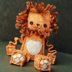 Little Lion Plush Robot in Orange and Peach Felt by GinnyPenny