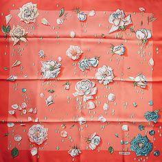 Coral-Teal-HERMES-La-Rosee-SILK-SCARF-by-Annie-Gavarni-Roses-Flowers-Rose