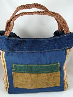 Blue Product Upcycled Shoulder Bag using basamati bags