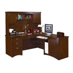 Mission Pasadena L-Desk with Right Return and Hutch - OFG-LD1100 and other Office and Computer Desks