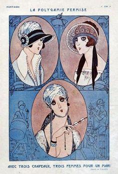 Fantasio  'La Polygamie Permise'  Armand Vallee illustration of 1923 hat styles.