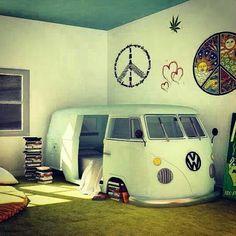 Hippie child. Van as a bed