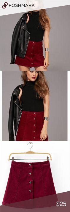 Burgundy Wine Corduroy Button Up Front Skirt Brand new, trendy mini skirt. Ships same day. Bundle and save! Skirts Mini
