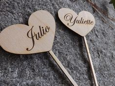 Heart Shaped Rustic Wood Cake Toppers, Wedding Favors, Rustic Wedding, Vintage Cake Toppers, Personalized