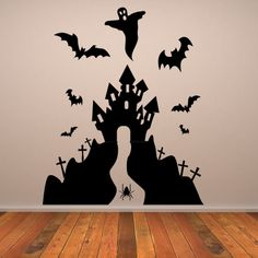 Haunted House Halloween Wall Art Sticker Wall Decal  Transfers
