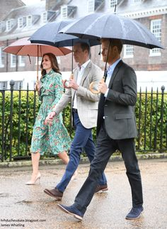 Catherine, Duchess of Cambridge, Prince William, Duke of Cambridge and Prince Harry are seen during a visit to The Sunken Garden at Kensington Palace on August 30, 2017 in London, England.