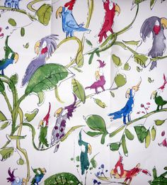 This Quentin Blake design is ostensibly kids' wallpaper but I want it for my bedroom.
