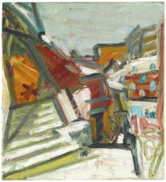 Frank Auerbach, Studios under snow, 1991 oil on canvas; 56 by 51cm., 22 by 20in.