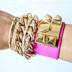 gold and pink Hermès cuff