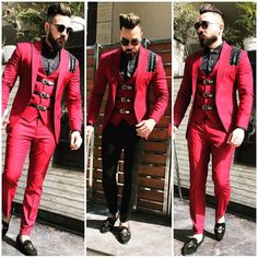 Designer latest roya red sui for partywear wedding and reception mens suit To inquire whatsapp 918888328116 or ethnicdiagmailcom European Fashion Men, Indian Men Fashion, Mens Fashion Wear, Suit Fashion, Wedding Dresses Men Indian, Wedding Dress Men, Wedding Suits, Mens Indian Wear, Indian Groom Wear