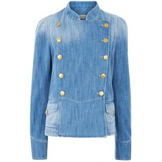 Isabel Marant Étoile Blue Denim Obira Military Jacket ($380) ❤ liked on Polyvore featuring outerwear, jackets, blue, military jacket, long sleeve jacket, jean jacket, double breasted jacket and denim military jacket
