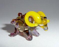Purple yellow  tiny glass sheep symbol of 2015 от WeAreLuckyShop