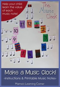Make a Music Clock – with Free Printable Music Notes! Make a Music Clock! Includes instructions and free printable music notes to help your child learn the value of music notes. Music Math, Preschool Music, Music Activities, Music Classroom, Fun Music, Music Clock, Music Worksheets, Piano Teaching, Music And Movement