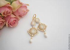 "Купить Серьги ""Mia"" L - белый, beads, swarovski, jewelry, handmade, earrings, бисер"