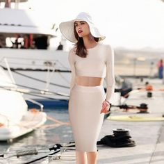 Beige Long Sleeve 2 Piece Bandage Dress http://www.celebdressy.com/Beige-Long-Sleeve-2-Piece-Bandage-Dress