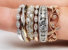 Wedding Rings and Bands Wedding Ring Styles, Cool Wedding Rings, Wedding Bands, Bangles, Bracelets, Jewels, Rock, Diamond, Summer