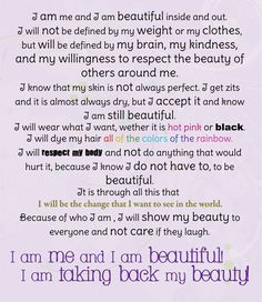 Beauty Manifesto: YOUR Definition of True Beauty! NOT what the media tells you, or what society has taught you, but what YOU believe to be true about REAL BEAUTY!