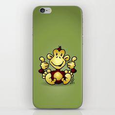 Manic Monkey with 4 thumbs up iPhone & iPod Skin #Cardvibes #Tekenaartje #Society6