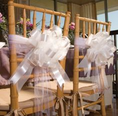 Tulle Ribbon & Bow Chair Decorations