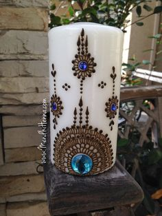 Henna candle by MendhiHennaArt on Etsy