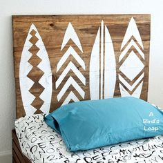 DIY wood head boards with tribal stenciling
