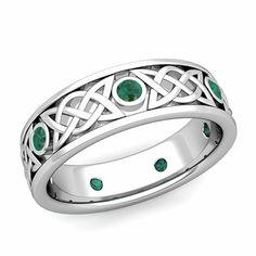 Legacy Celtic Wedding Band in 14k Gold Bezel Set Emerald Wedding Ring, 6.5mm