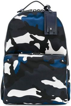 Valentino Garavani Camouflage Backpack In Blue Valentino Garavani, Valentino Men, Camouflage Backpack, White Backpack, Valentino Camouflage, Cool Backpacks, Leather Backpacks, Best Bags, Designer Backpacks