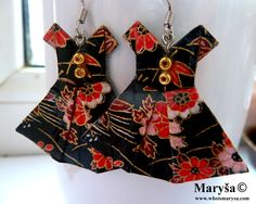 Black Origami Dress earrings with red Dress dangle earrings Washi earrings Green Japanese Dress with flowers Gift for her Romantic Gift Idea by MarysaArt on Etsy