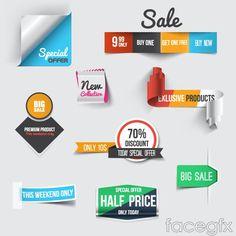 9 creative discount tag vector